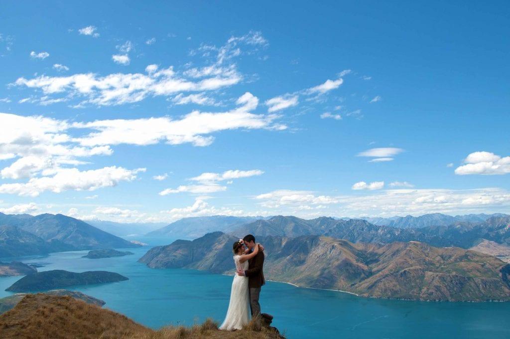 Couple are married on Coromandel Peak in a New Zealand Wanaka Heli Wedding