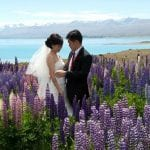 Lupins wedding at Lake Tekapo, Church of the Good Shepherd