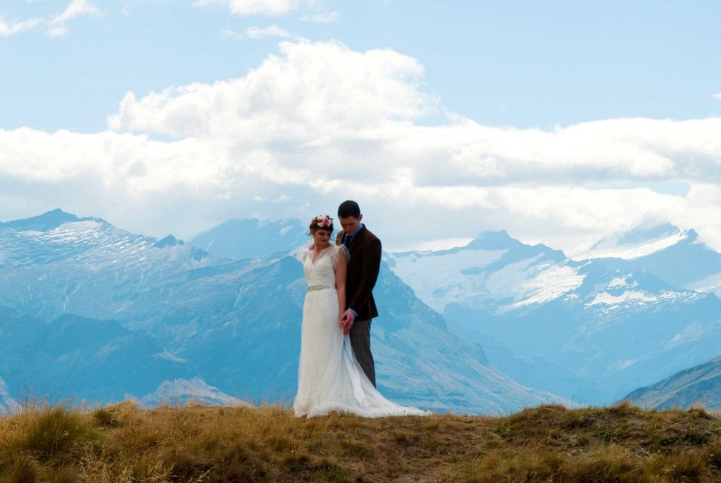 Couple are married in an intimate ceremony on Coromandel Peak with a dream wanaka wedding packages