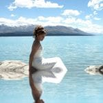 Bride in the waters of Lake Pukaki