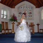 A beautiful bride in the Cashmere Church for her dream wedding