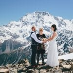 Snow wedding ceremony on Mt Cook with New Zealand Dream Weddings