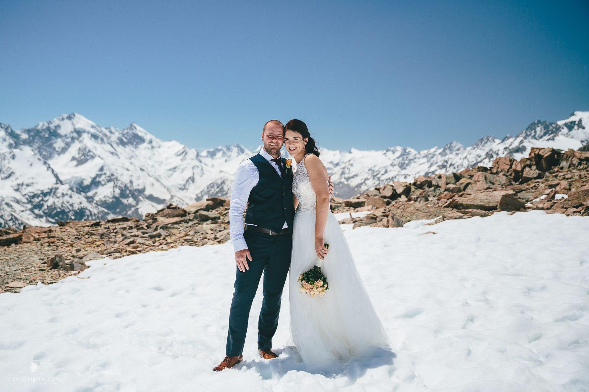 Mt Cook mountain top snow landing wedding