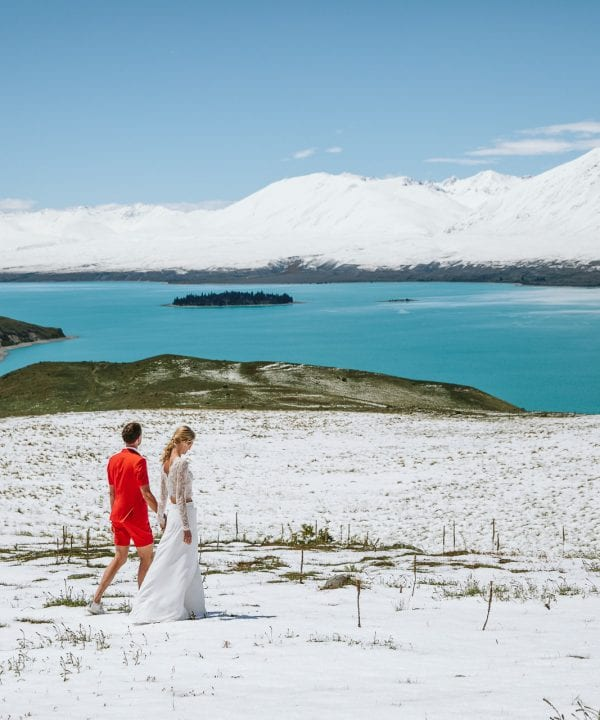 Tanja and Dirkjan's magical snowy wedding at Lake Tekapo