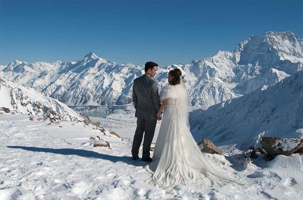 Liebig dome heli wedding NZ